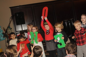 My stars: Alyssa and Bradley holding the N and backwards E.